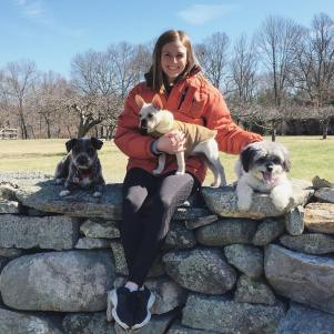 Erin in her natural habitat: outdoors with dogs in Massachusetts on her family farm.