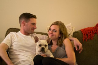 Erin and Connor at home in Savannah Georgia enjoying time with their french bulldog boston terrier mix puppy after his return from deployment!